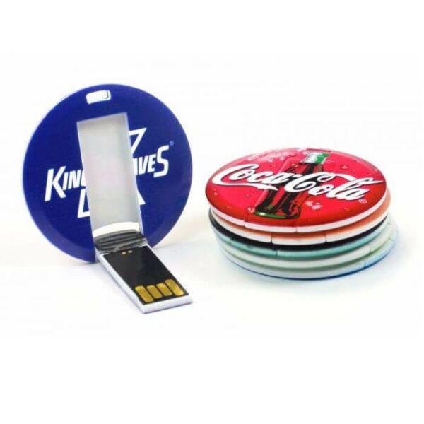 Ronde USB sticks kleurrijk bedrukt met logo van bekende merken
