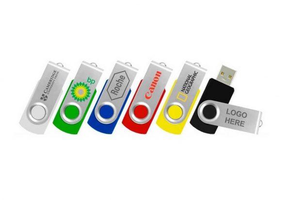 Twister USB stick met verschillende logo's bedrukt