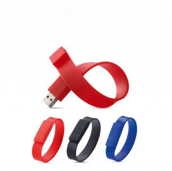 polsband usb stick in rood zwart en blauw