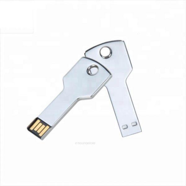Sleutel usb stick metaal bedrukt met bedrijfsnaam